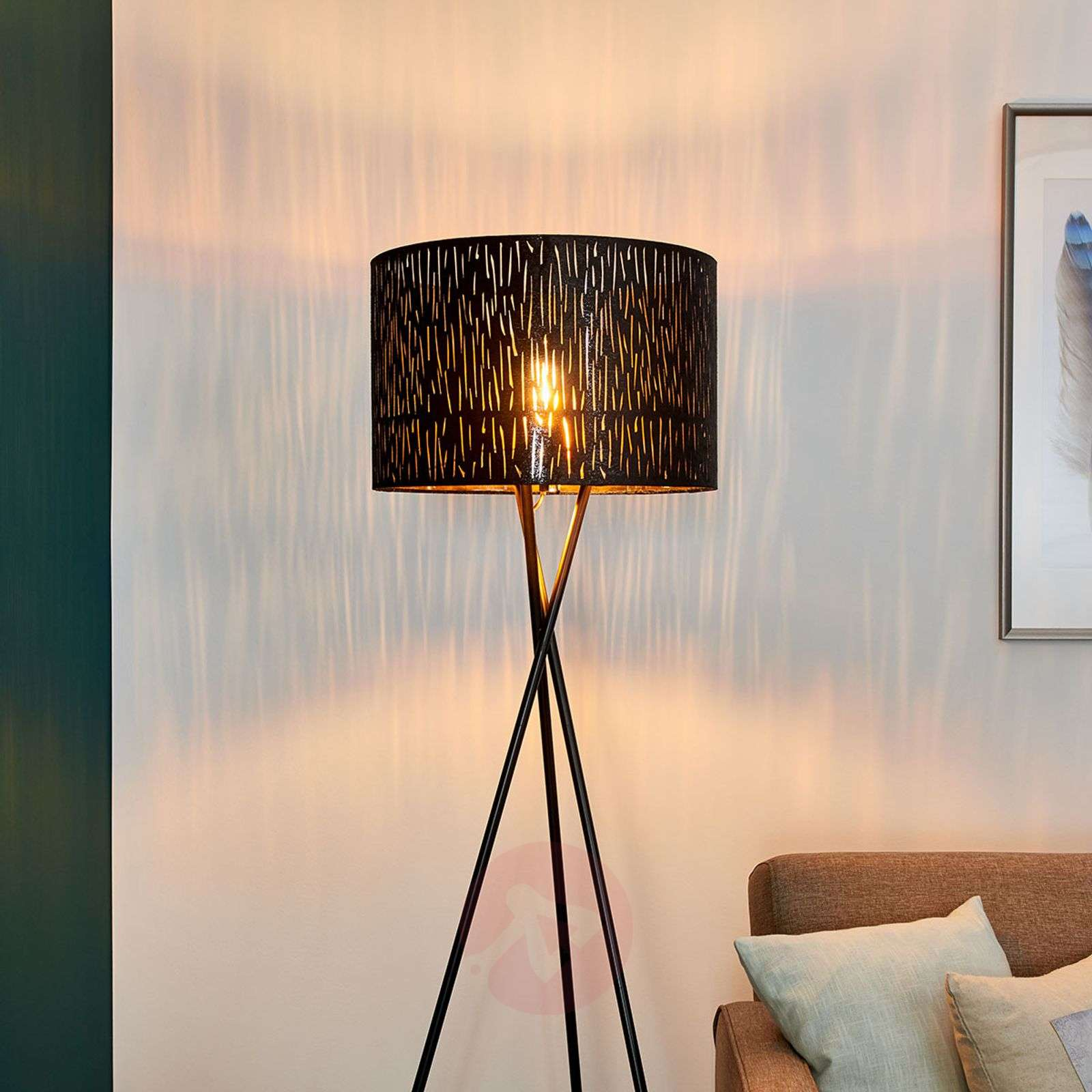 Tripod floor lamp Jules, black and gold-4018111-02