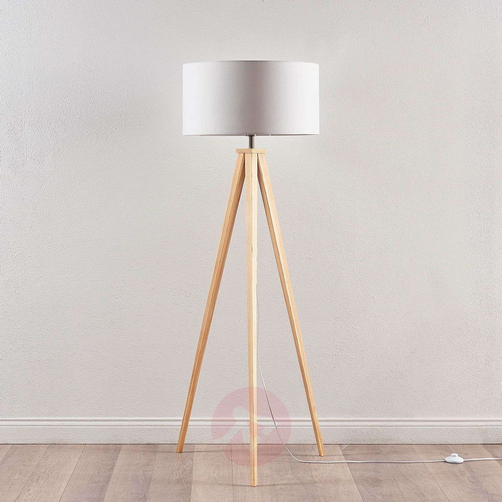 Tripod floor lamp Mya with a white lampshade-9621329-01