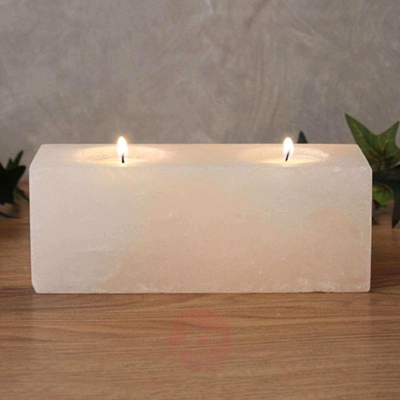 Twin Cube White Line tea light holder-9608045-01