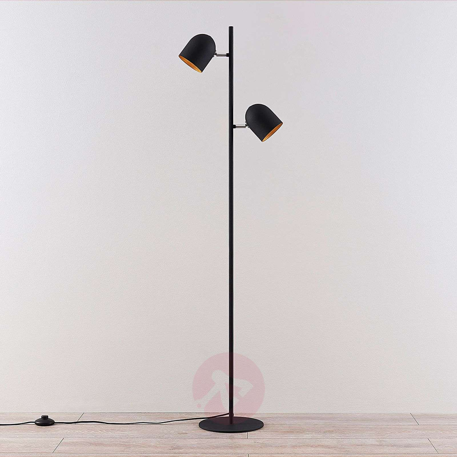 Two-bulb floor lamp Morik, black-gold-9624162-02