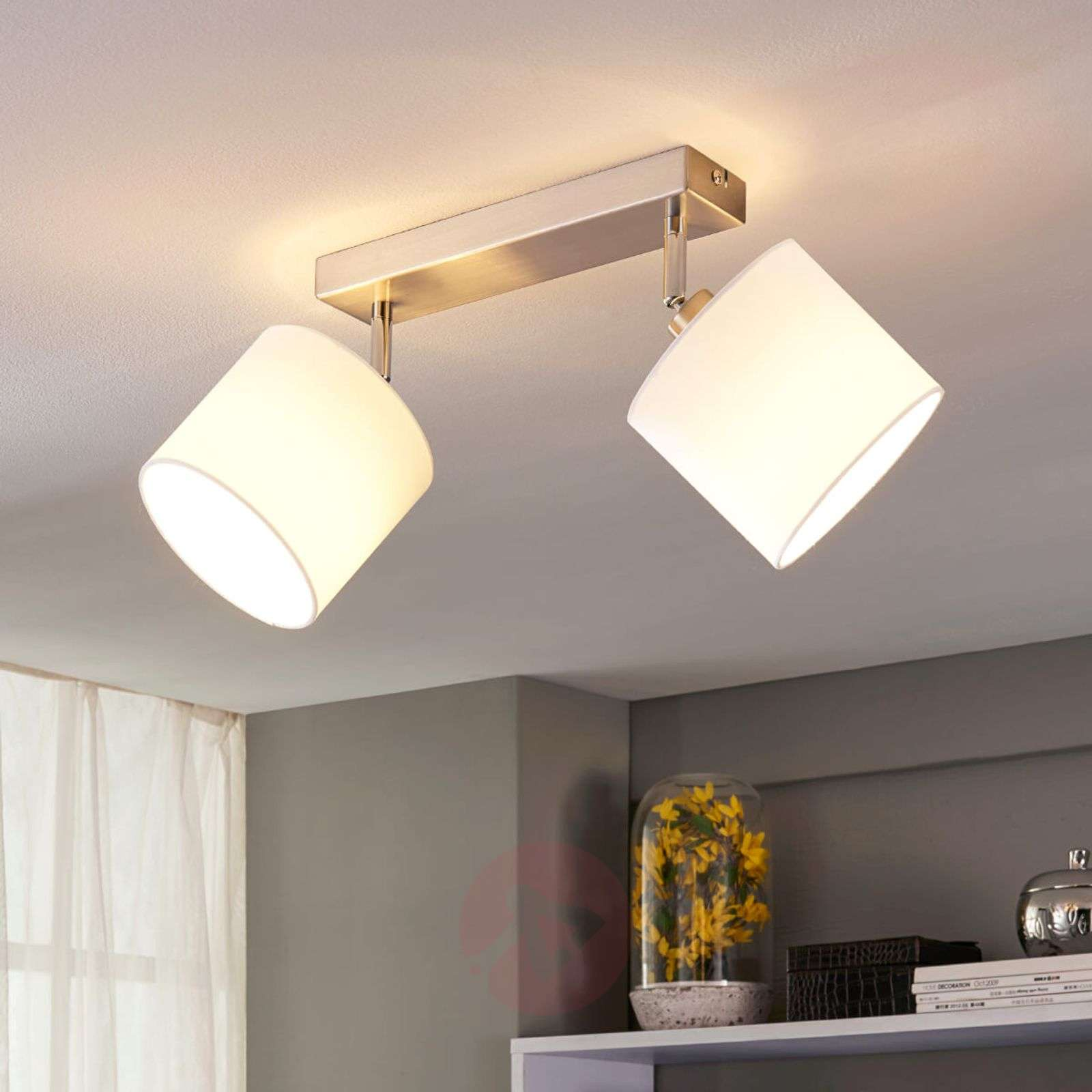 Two-bulb LED ceiling lamp with fabric lampshades-9621106-010