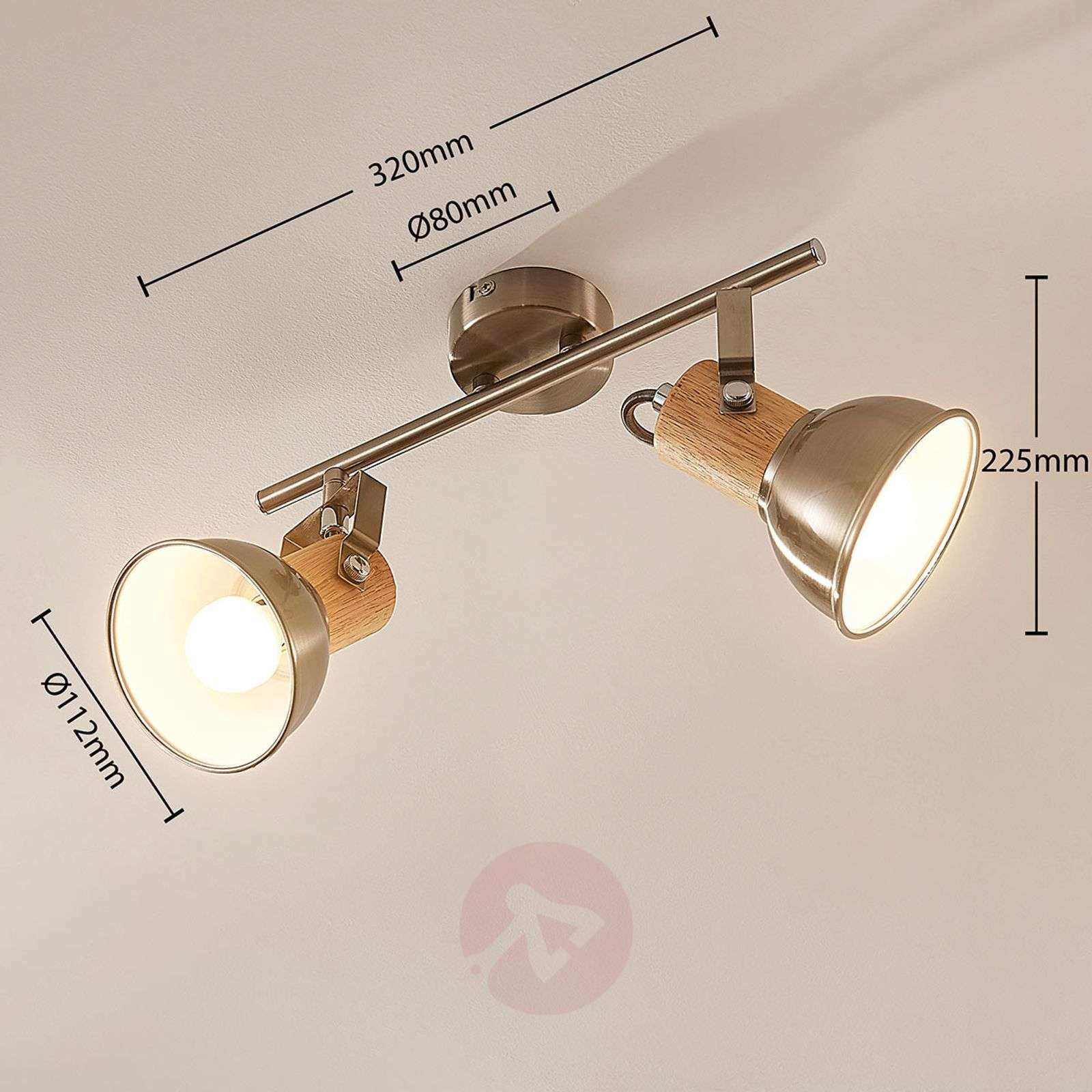 Two-bulb LED ceiling light Dennis with wood-9621817-02
