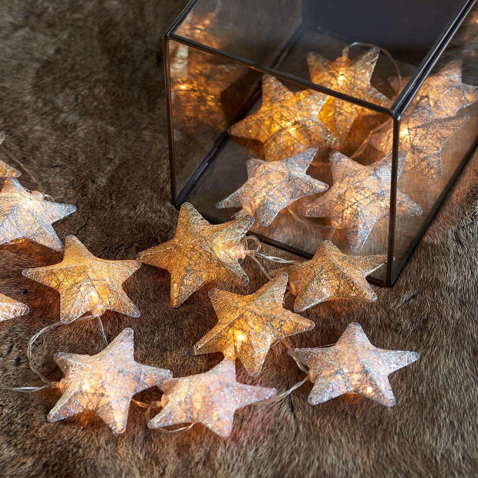 Two-colour LED string lights Bolette stars 20-bulb-8577195-01