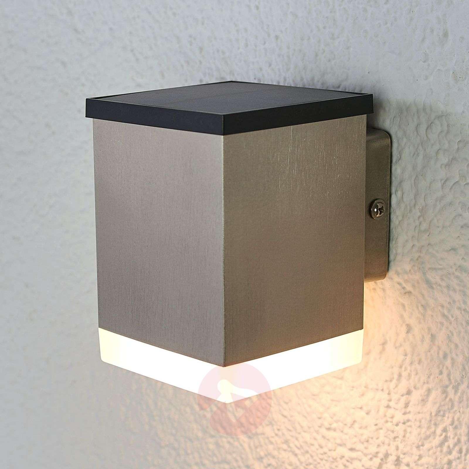 Tyson Led Solar Outdoor Wall Light Angular Satin