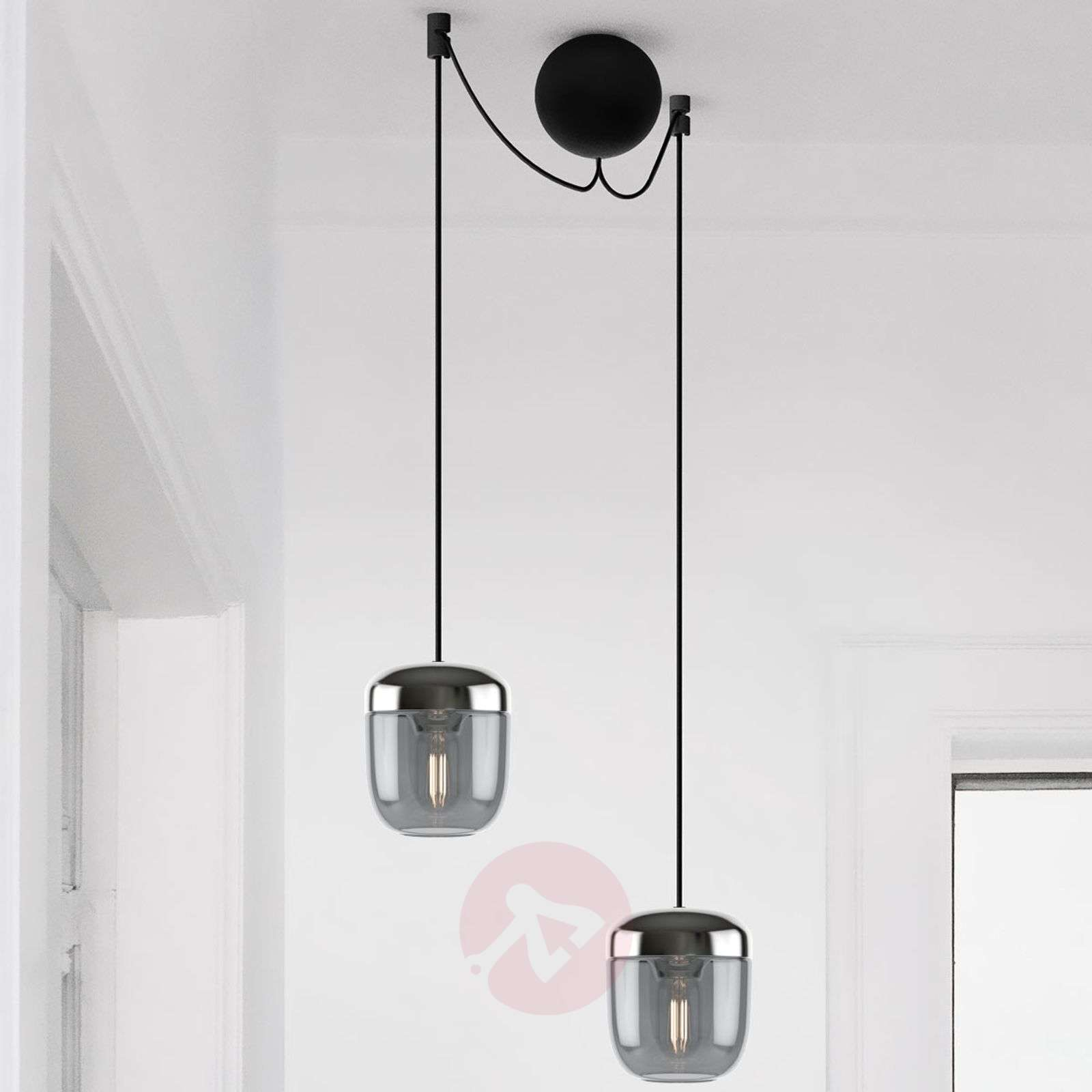 UMAGE Acorn hanging lamp 2-bulb smoky grey steel-9521220-01