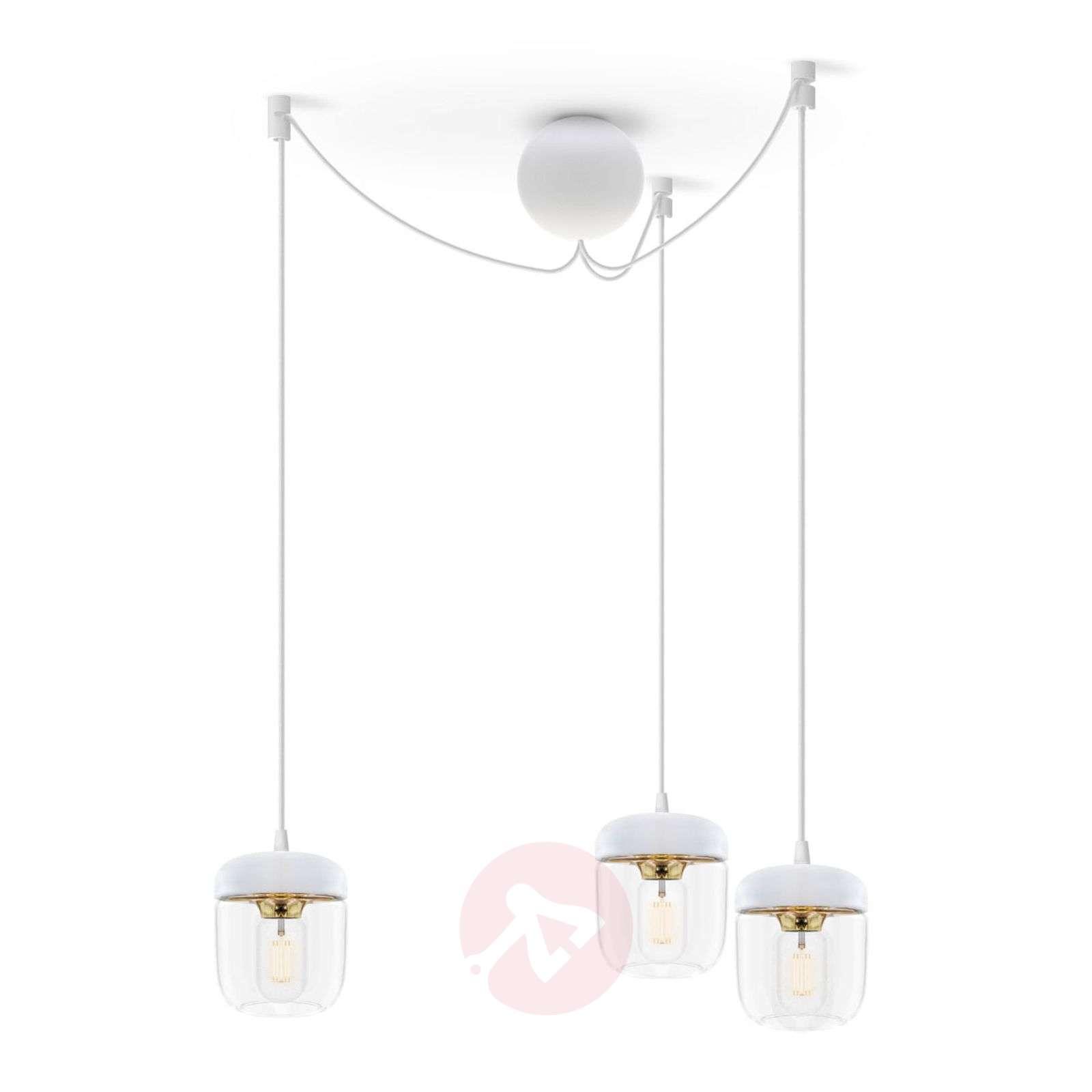 UMAGE Acorn hanging lamp three-bulb, white/brass-9521094-01