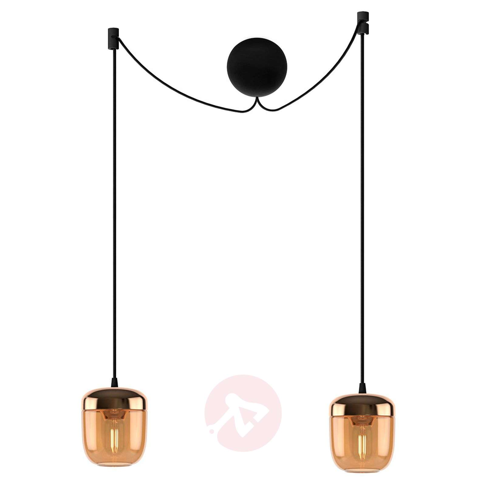 UMAGE Acorn hanging lamp two-bulb amber brass-9521223-01