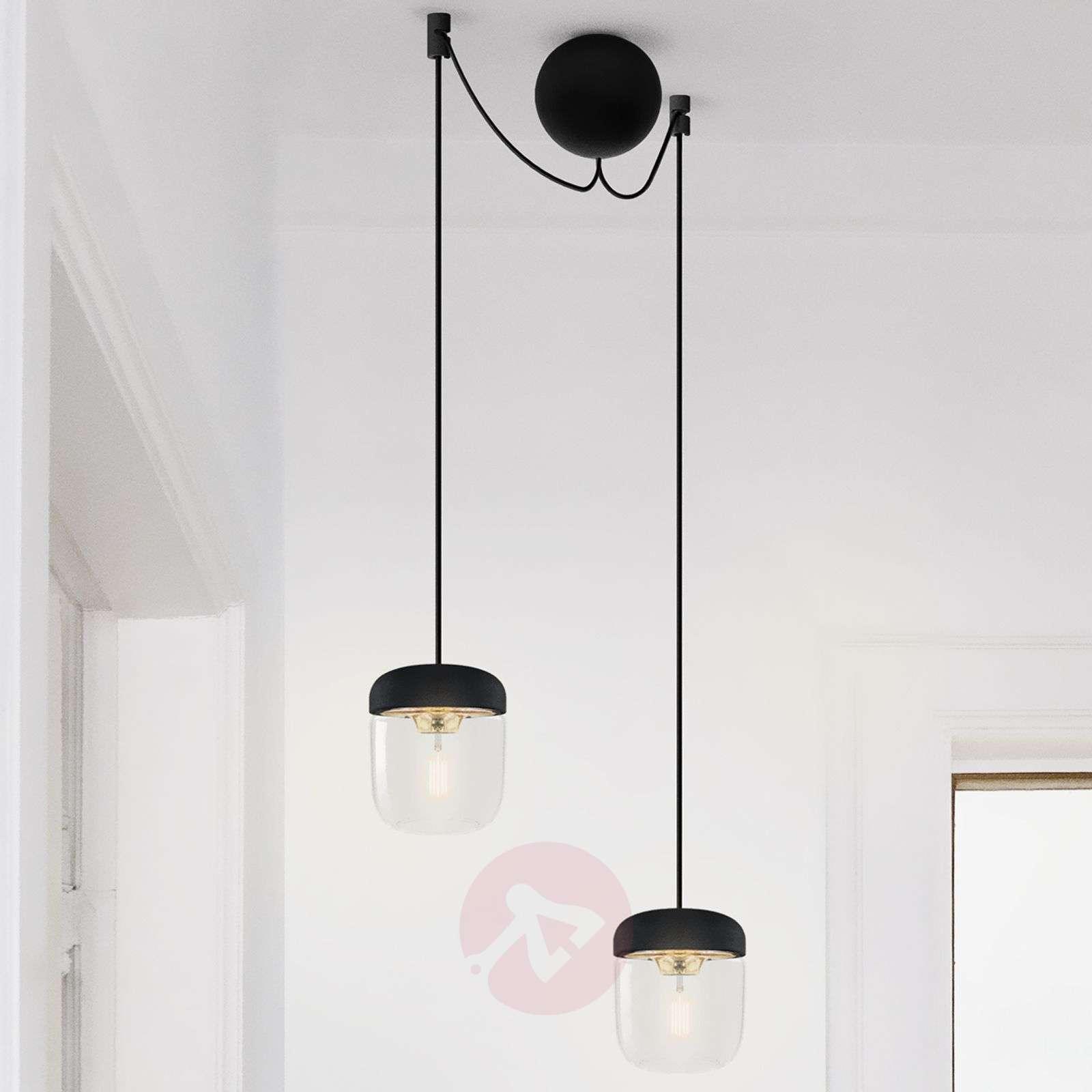 UMAGE Acorn hanging lamp two-bulb, black/brass-9521089-01