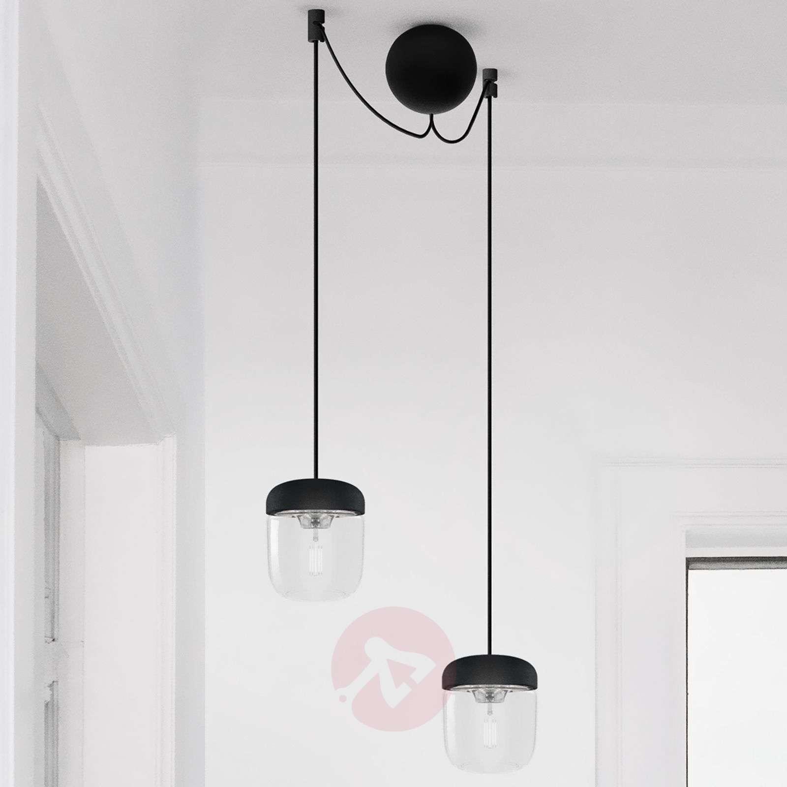 UMAGE Acorn hanging lamp two-bulb, black/steel-9521087-01