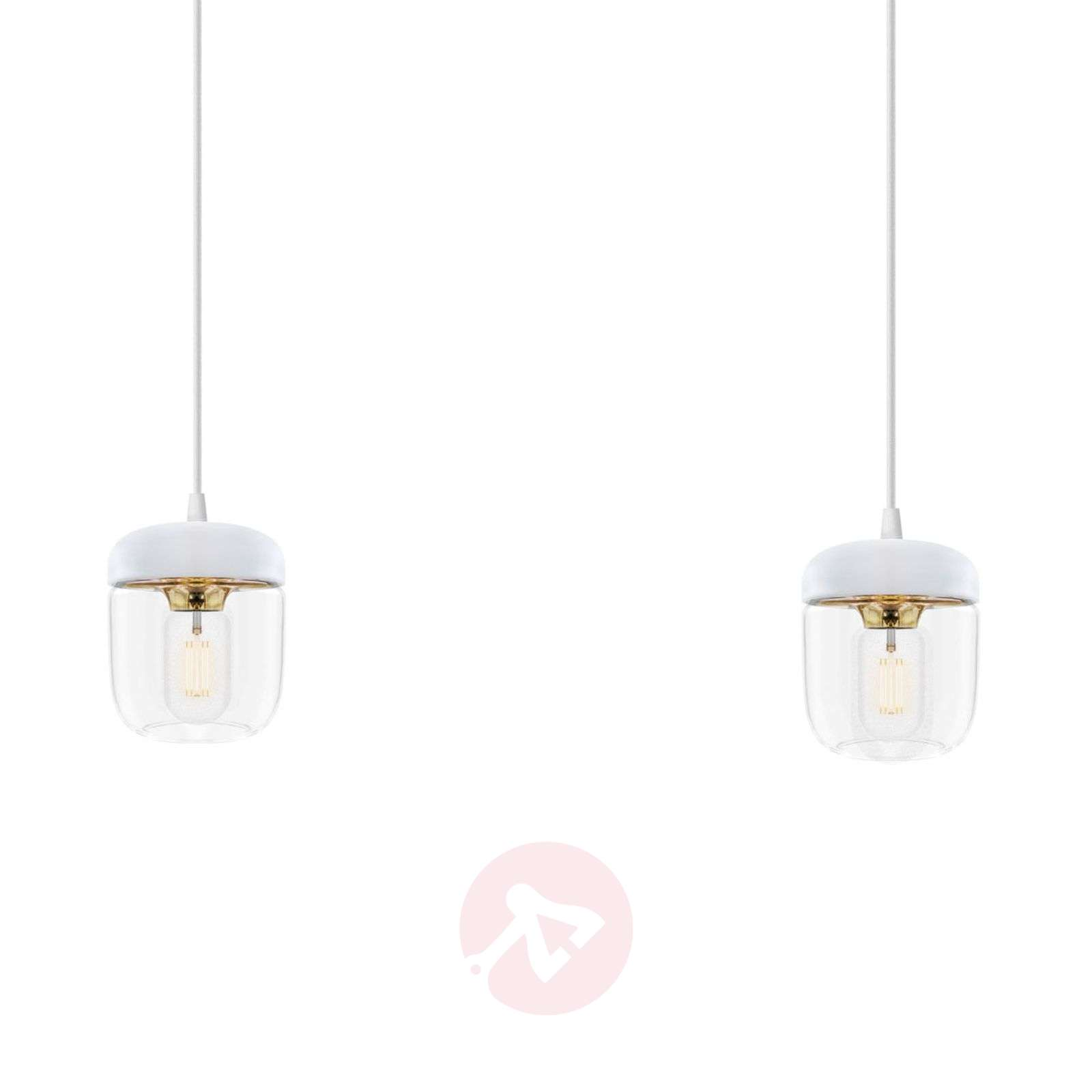 UMAGE Acorn hanging lamp two-bulb, white/brass-9521085-01