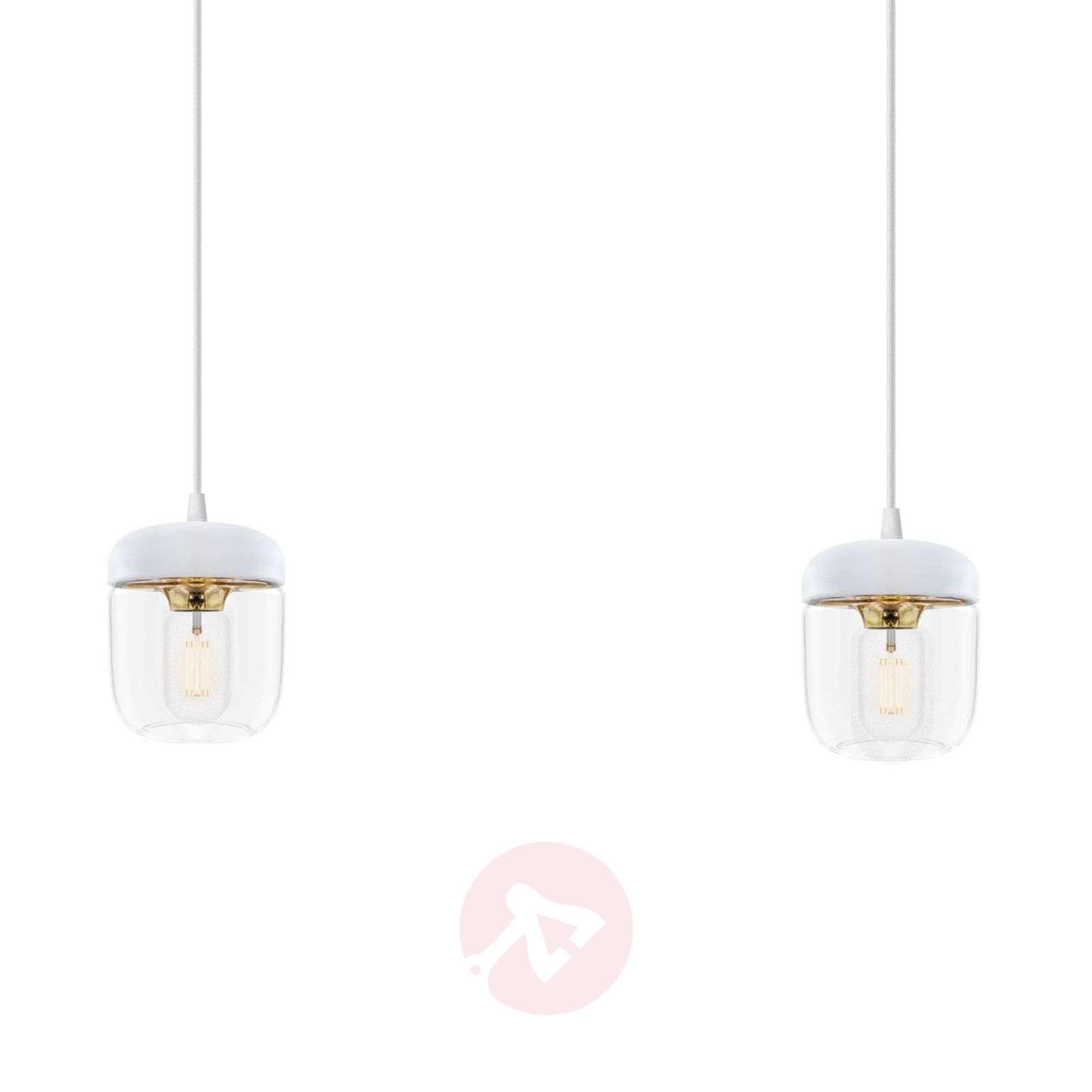 UMAGE Acorn hanging lamp two-bulb, white/brass-9521085-01