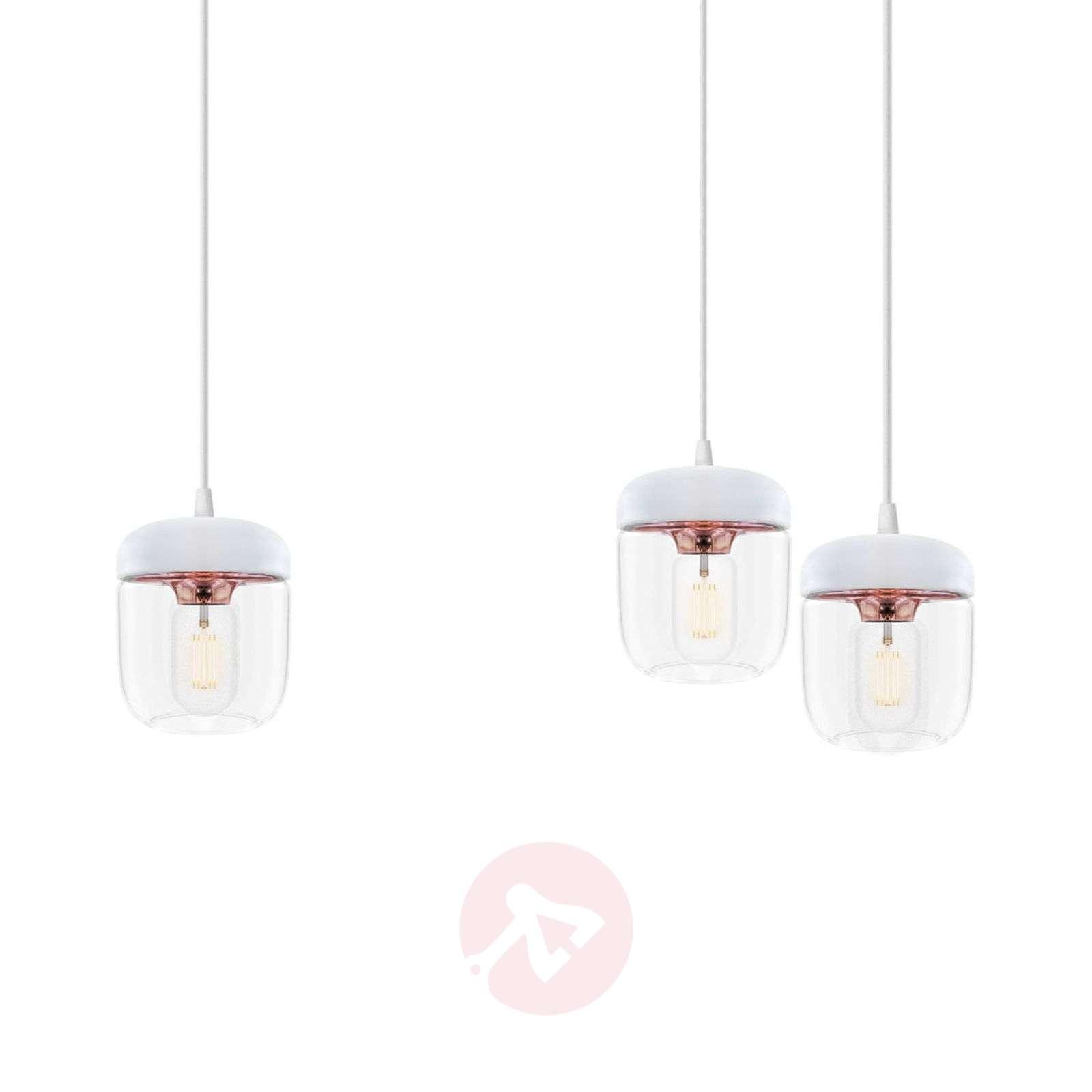 UMAGE Acorn hanging light three-bulb, white/copper-9521095-01