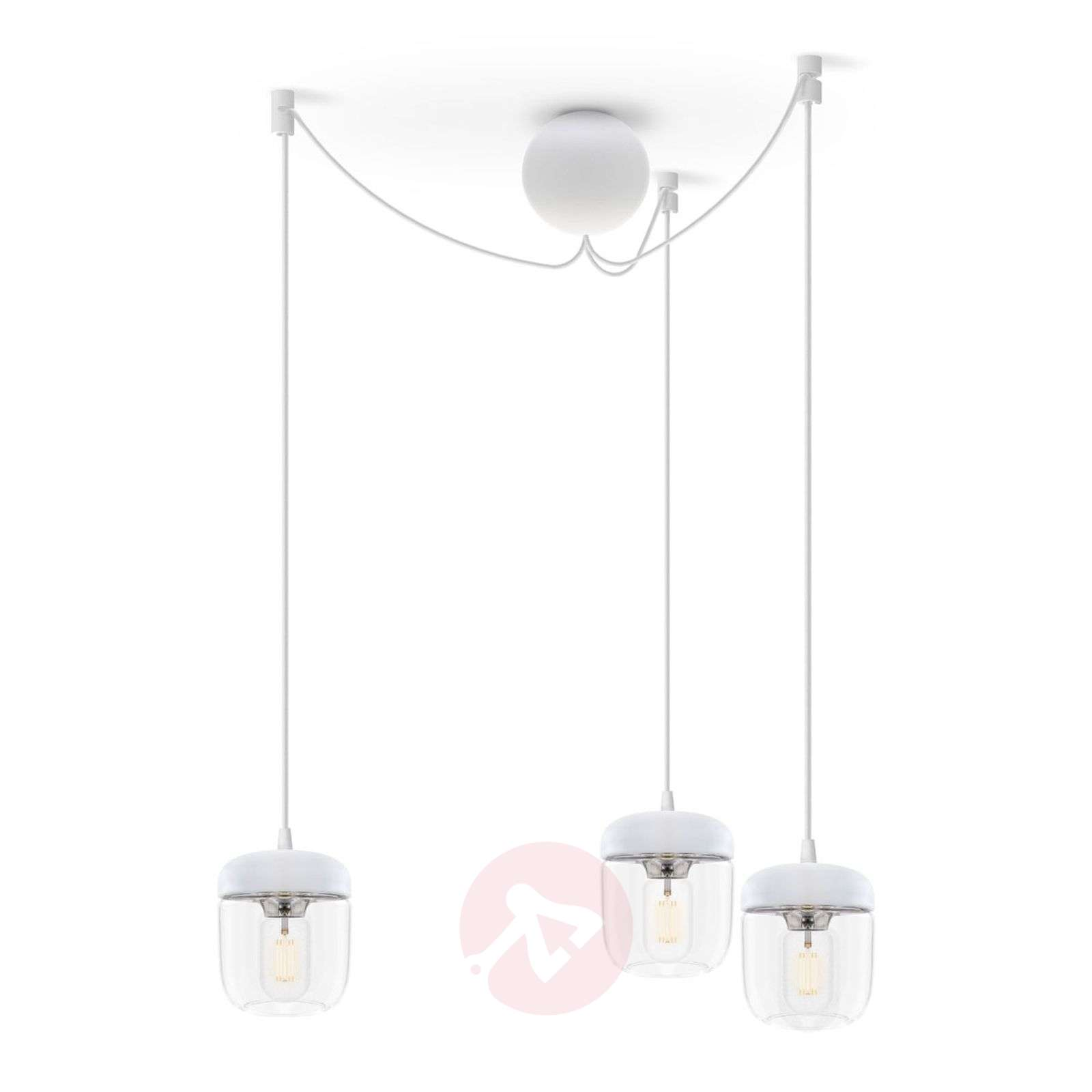 UMAGE Acorn hanging light three-bulb, white/steel-9521093-01