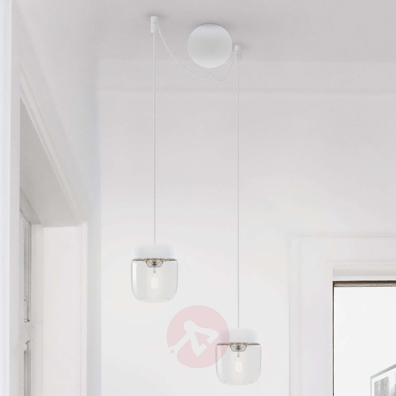 UMAGE Acorn hanging light, white/steel-9521084-01