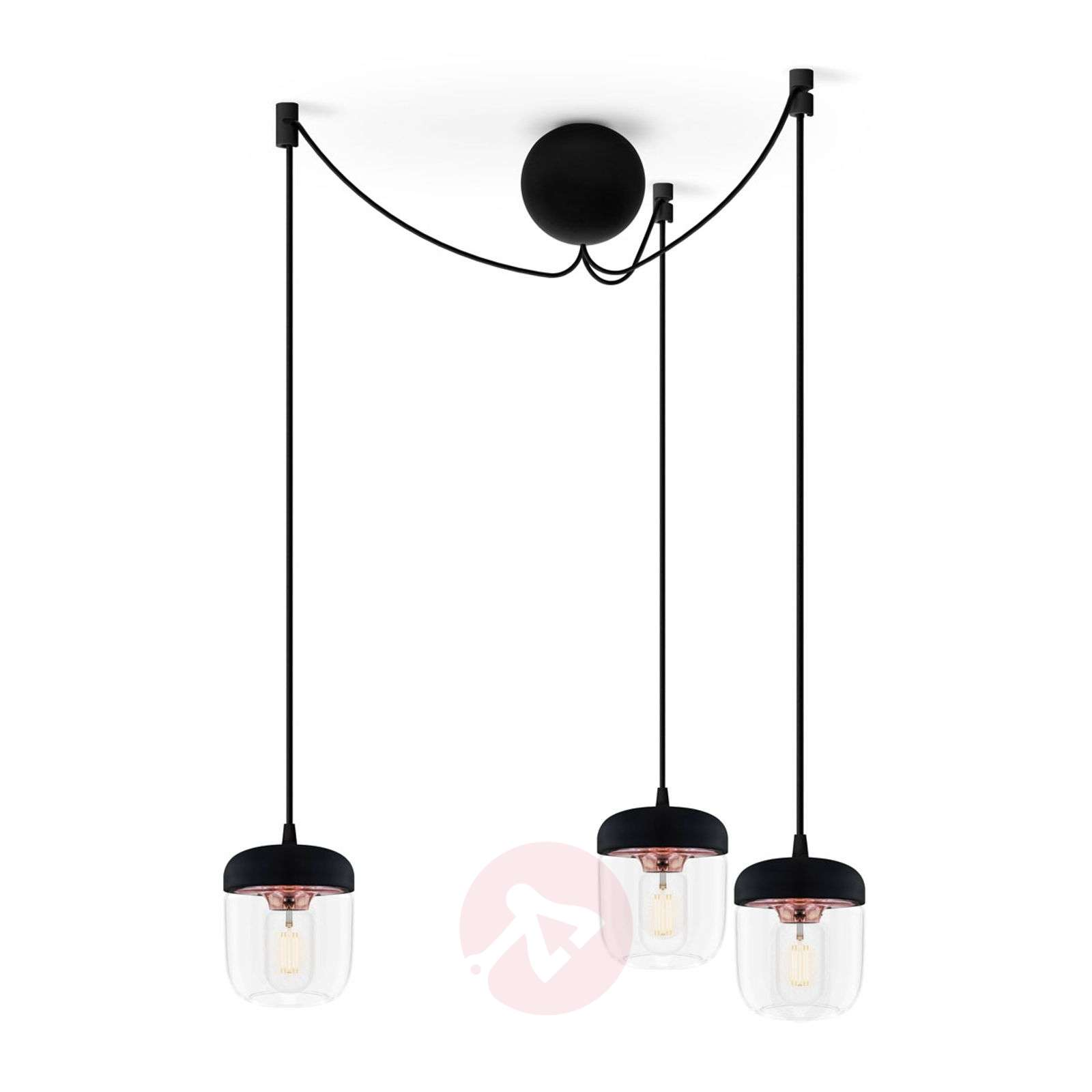 UMAGE Acorn pendant lamp three-bulb, black/copper-9521098-01