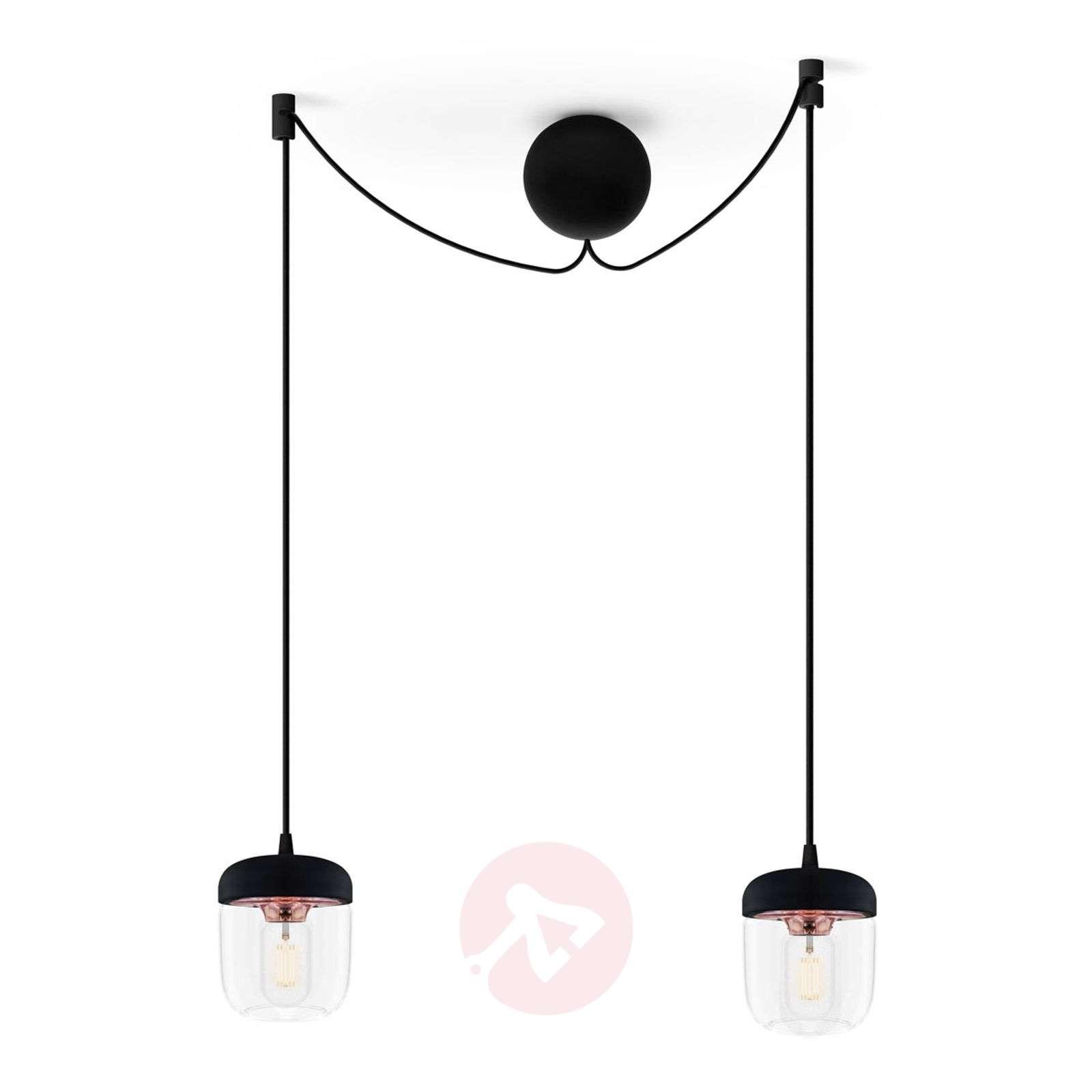 UMAGE Acorn pendant lamp two-bulb, black/copper-9521090-01