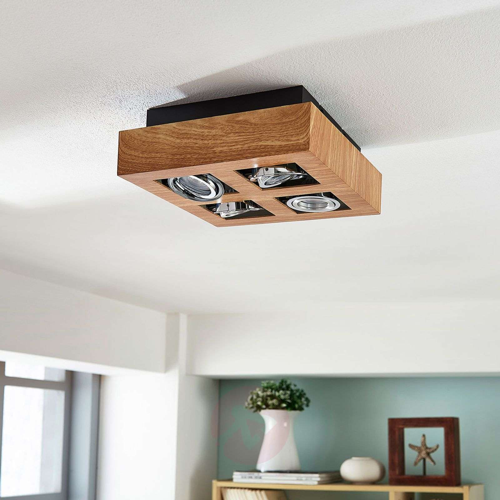 Vince Led Ceiling Light 25 X 25 Cm Wooden Optic