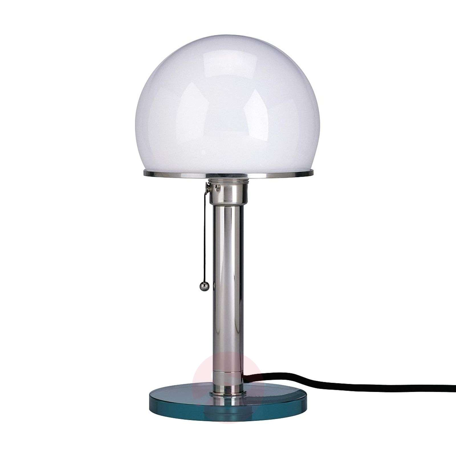 Wagenfeld table lamp with glass base and metal rod-9030004-01
