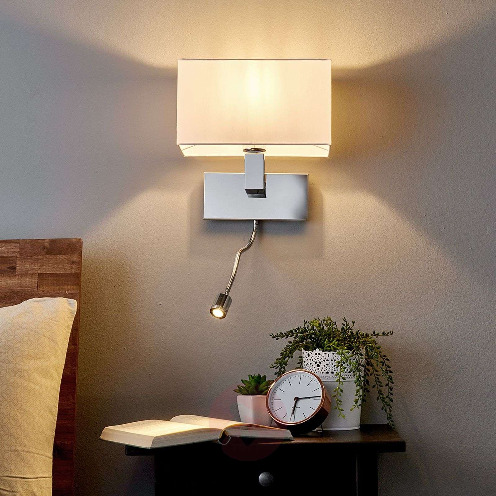 Wall light Tamara with fabric shade, LED flex arm_9976011_1
