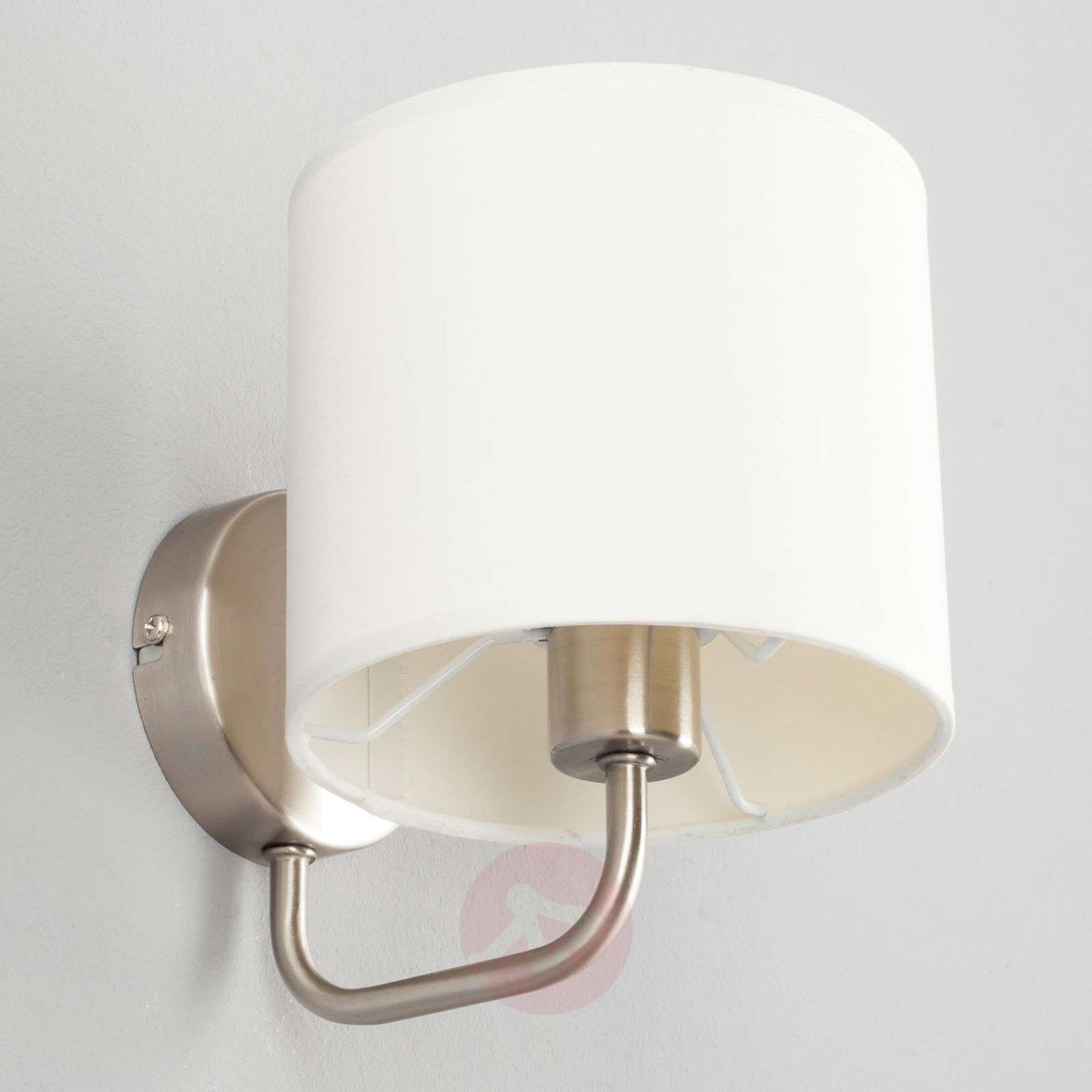White fabric wall light Fenria with E14 LED-9970031-01