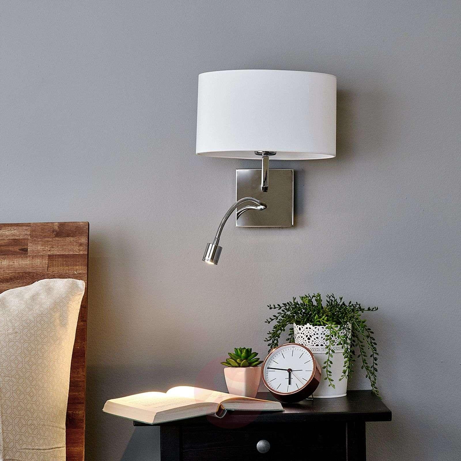 White fabric wall light Karla, LED reading light-9976009-01