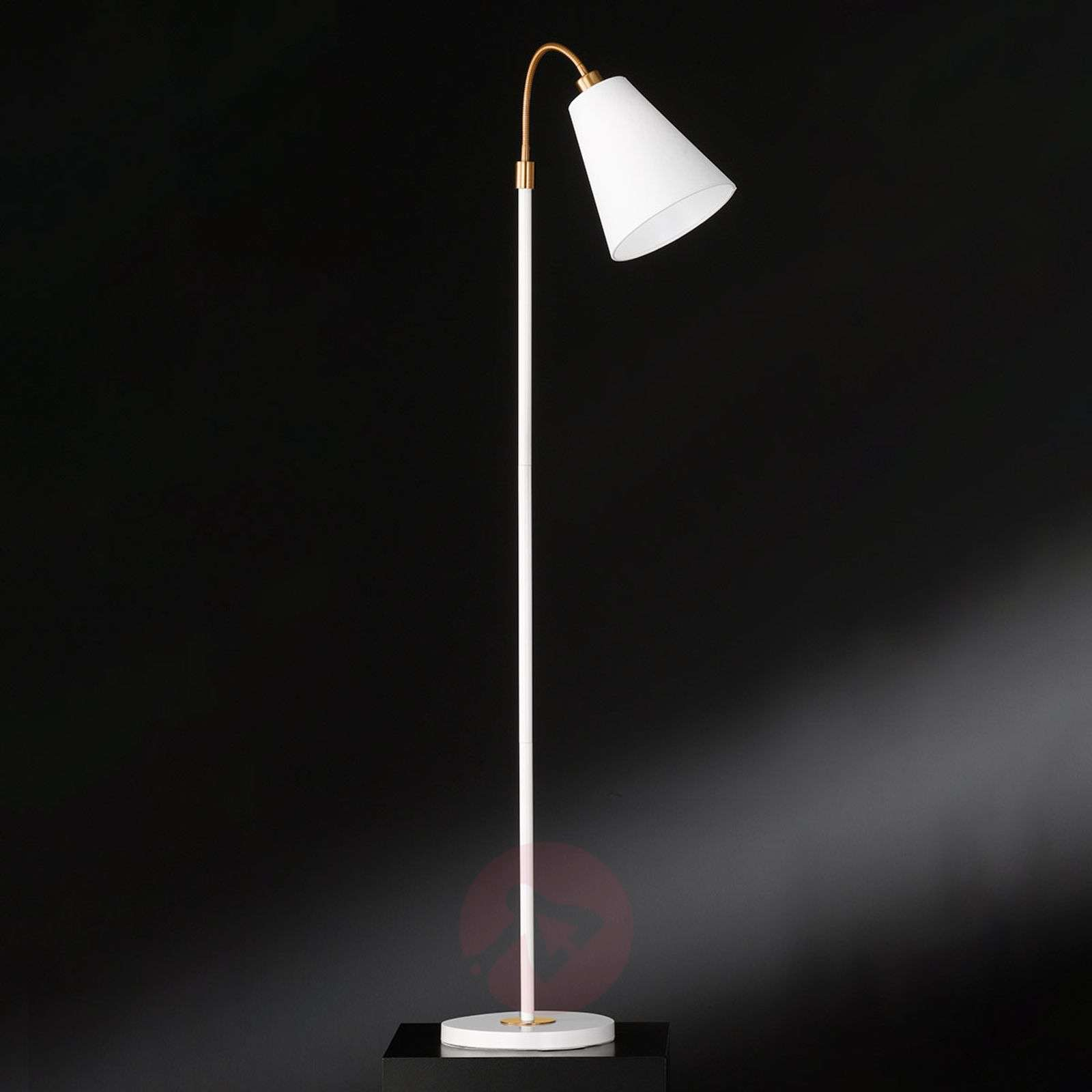 White floor lamp Hopper with bronze details-4581560-01