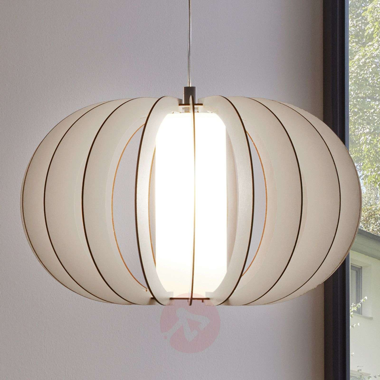 White hanging light Stellato with wood slat shade-3031891X-01