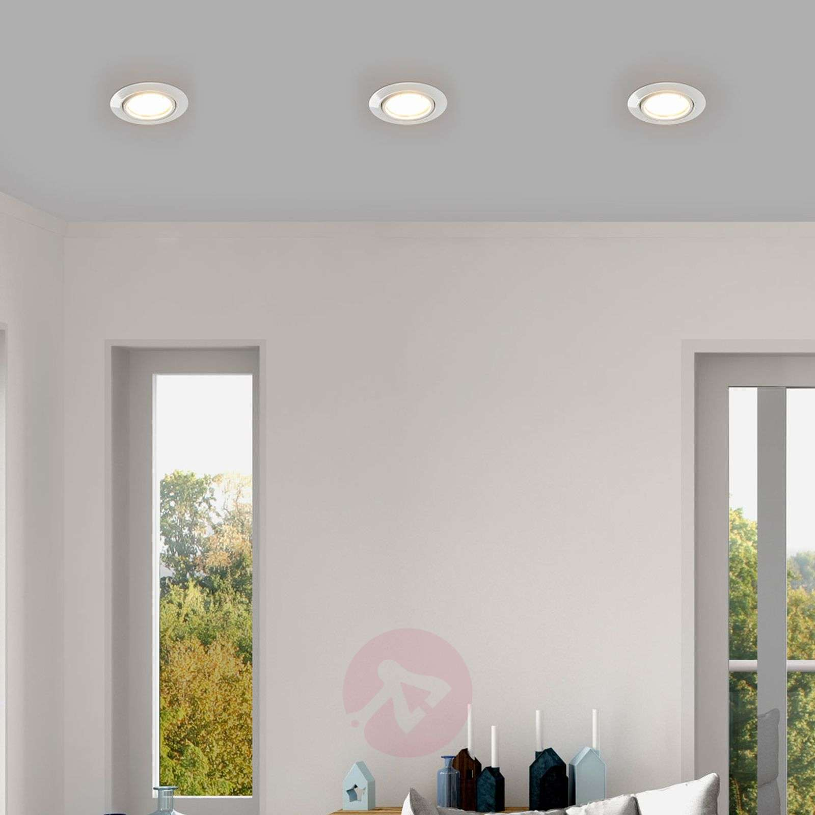 White Juna LED recessed lights, set of 3 Easydim-1558080-02