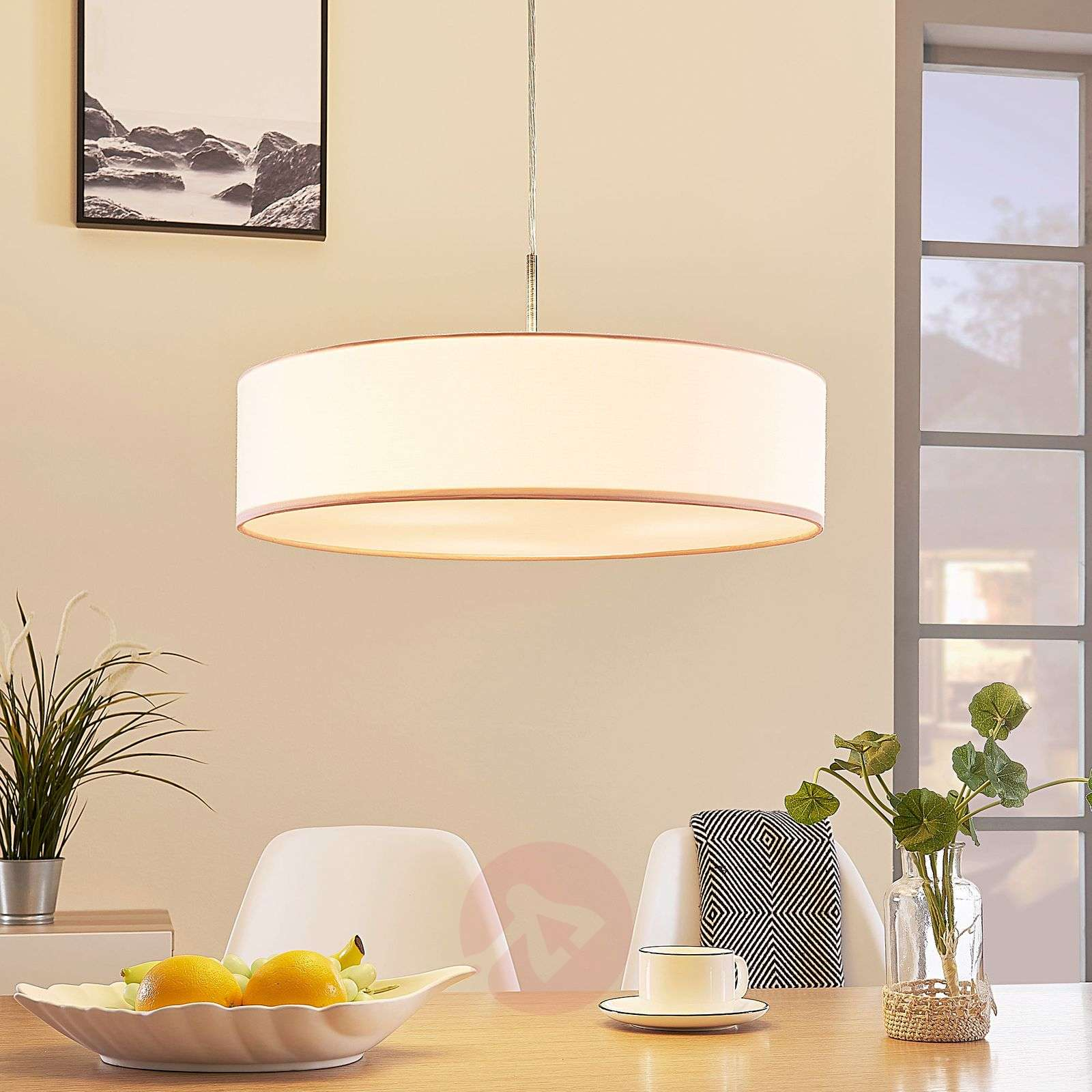 White Sebatin LED fabric pendant lamp-9620321-02