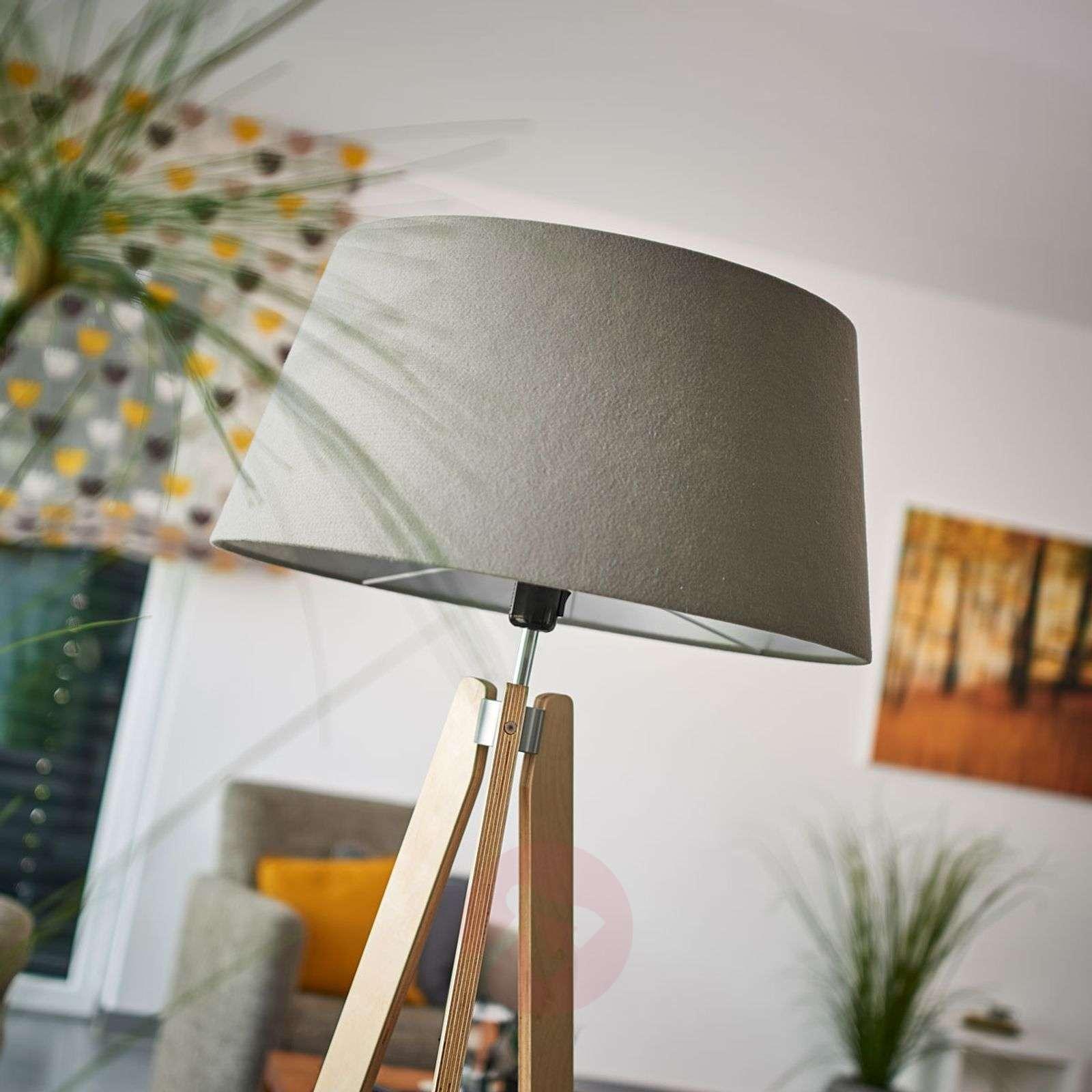 With grey felt lampshade Thea wooden floor lamp-6722430-01