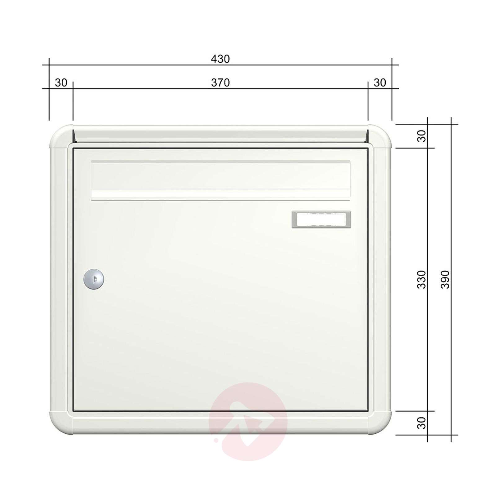 With rain lip, letterbox Express Box Up 120, white-5540035-01