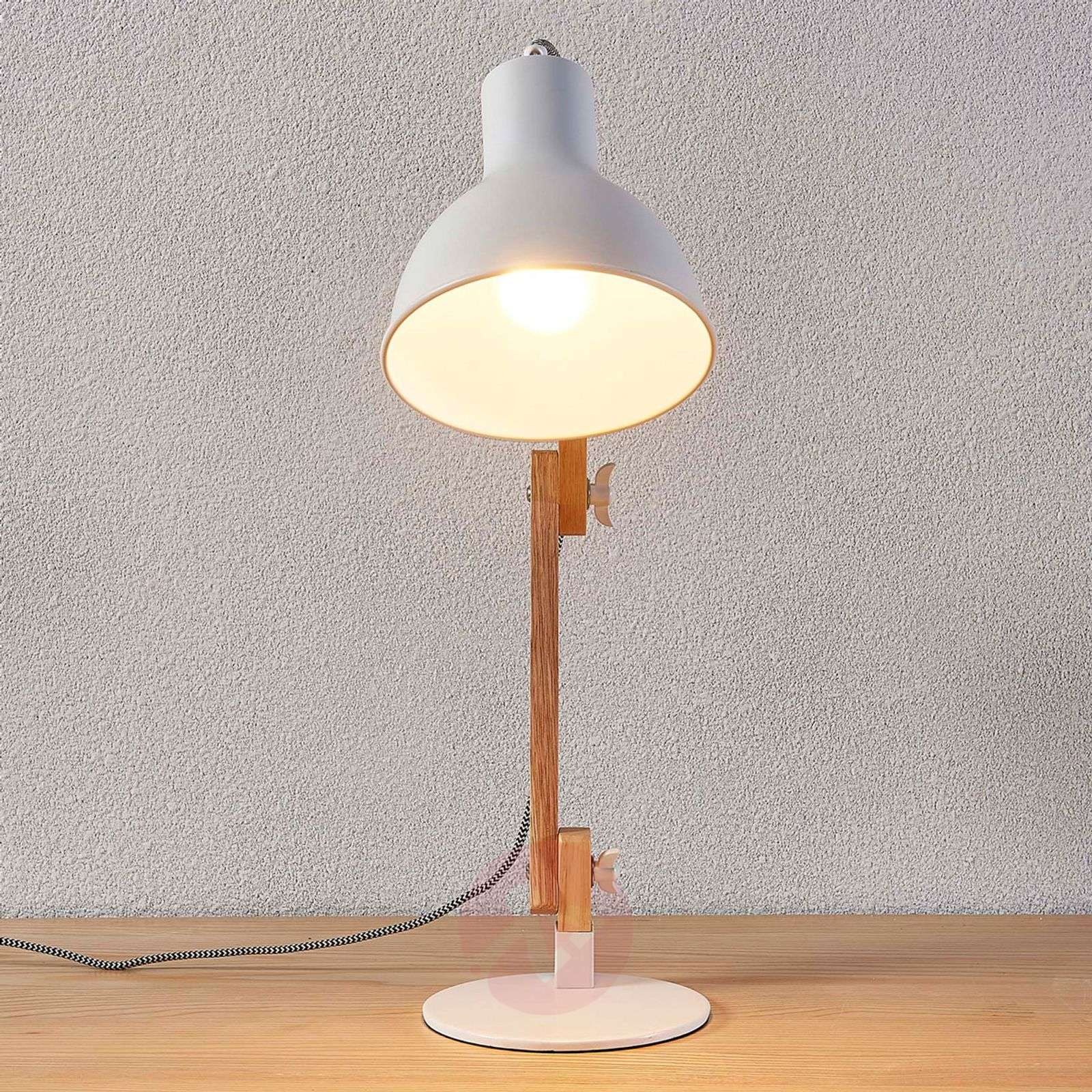 71e95fe71f16 ... Wood desk lamp Shivanja with white lampshade-9621151-03 ...