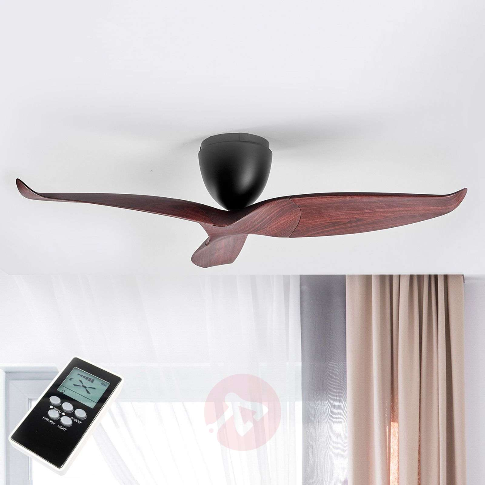 Wood finish ceiling fan Aeratron, 126 cm-1068013-09