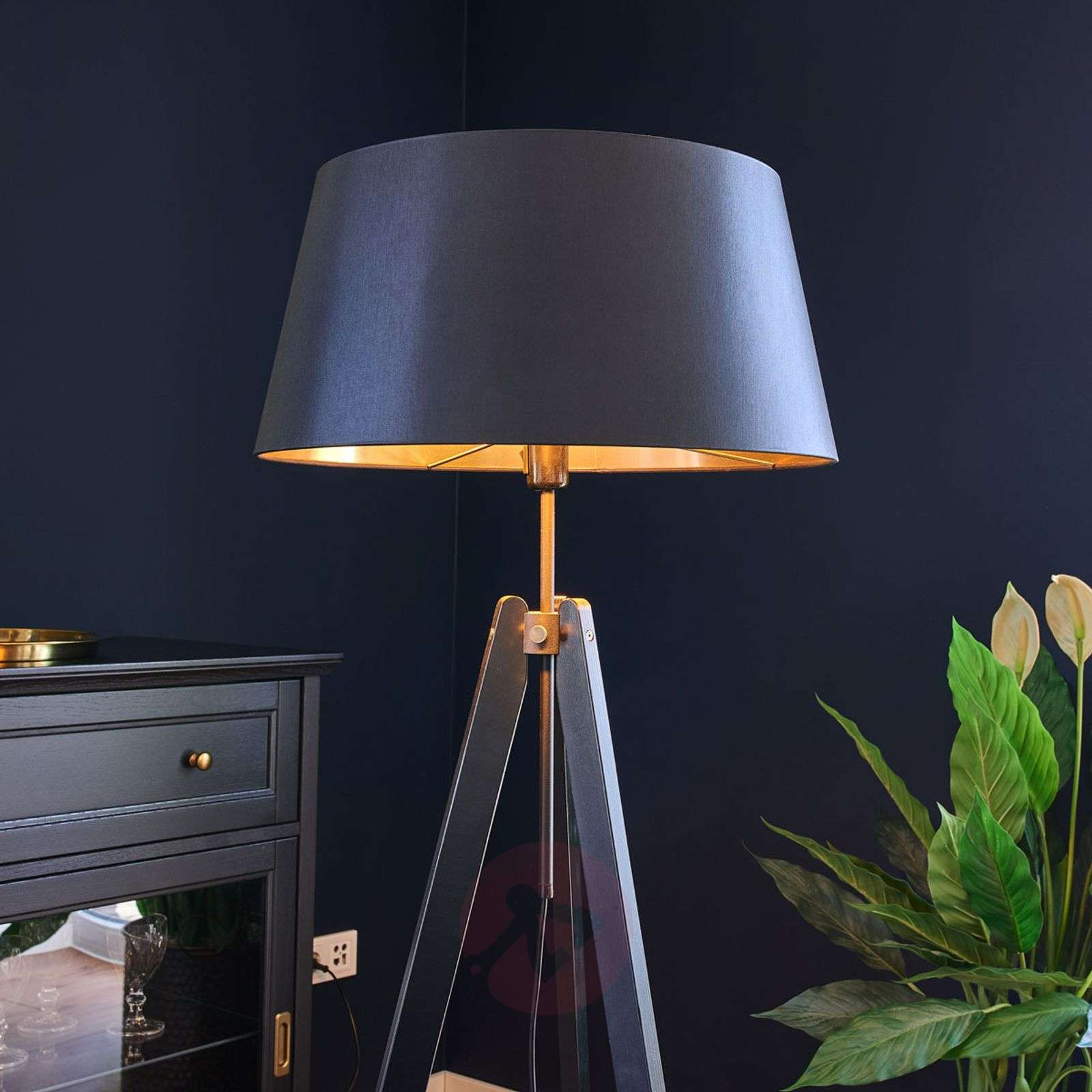 Wood floor lamp Thea with black-gold lampshade-6722433-07