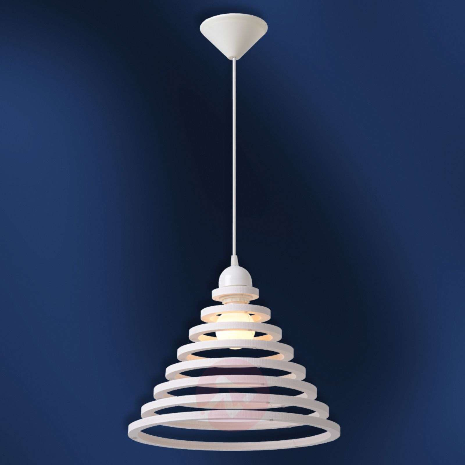 Wood shade with white rings Tora hanging light-6054867-01