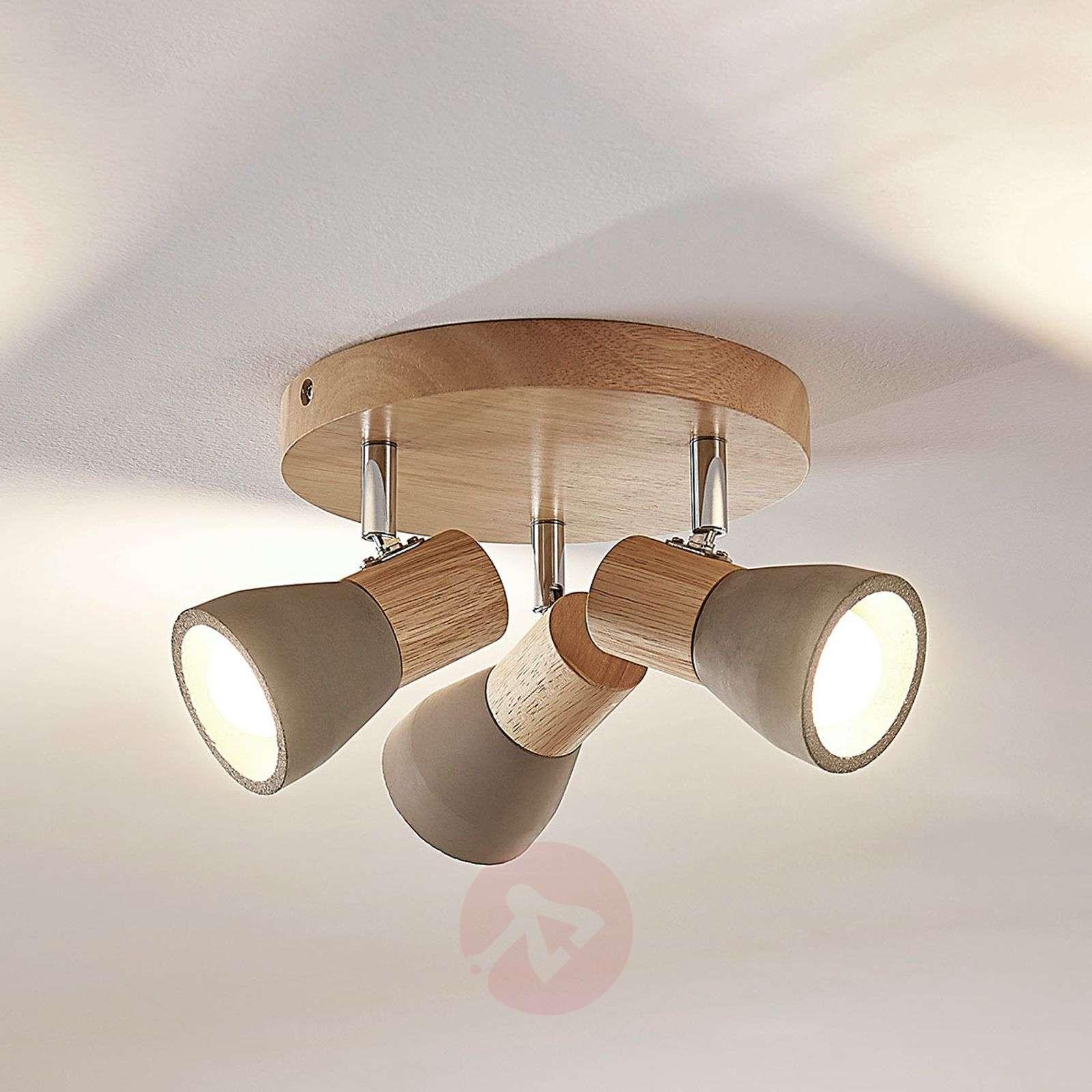 Wood spotlight Filiz concrete lampshades LED bulbs-9621839-01