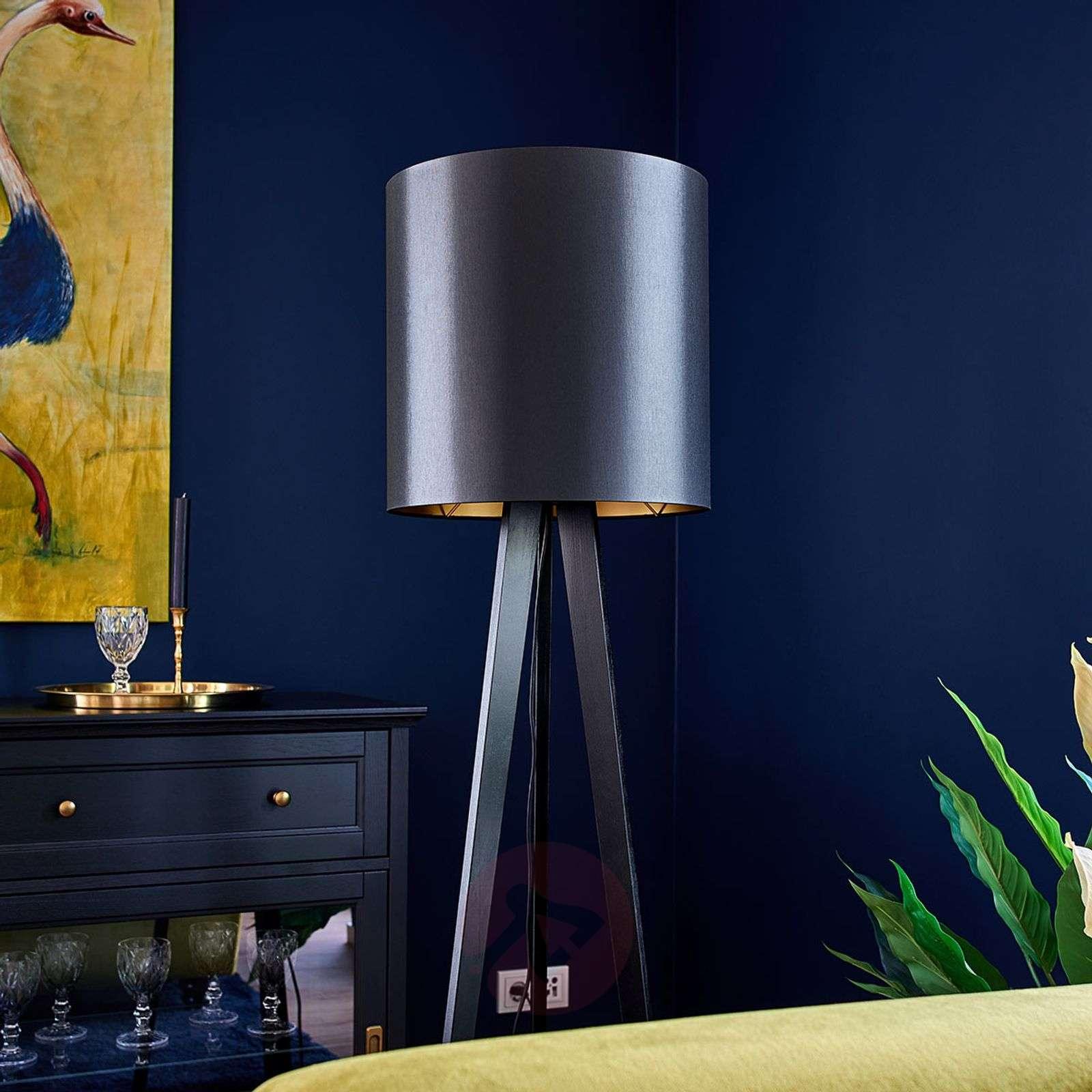 Wooden floor lamp Nida, black-gold lampshade-6722442-01