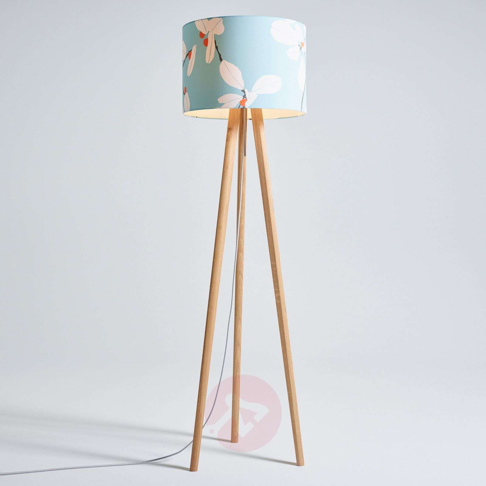 Wooden floor lamp sten flower fabric lampshade lights wooden floor lamp sten flower fabric lampshade 2600526 01 mozeypictures Image collections