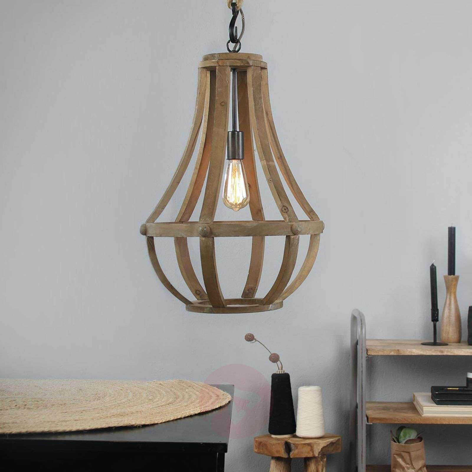 Wooden pendant light Liberty Bell-8509776-01