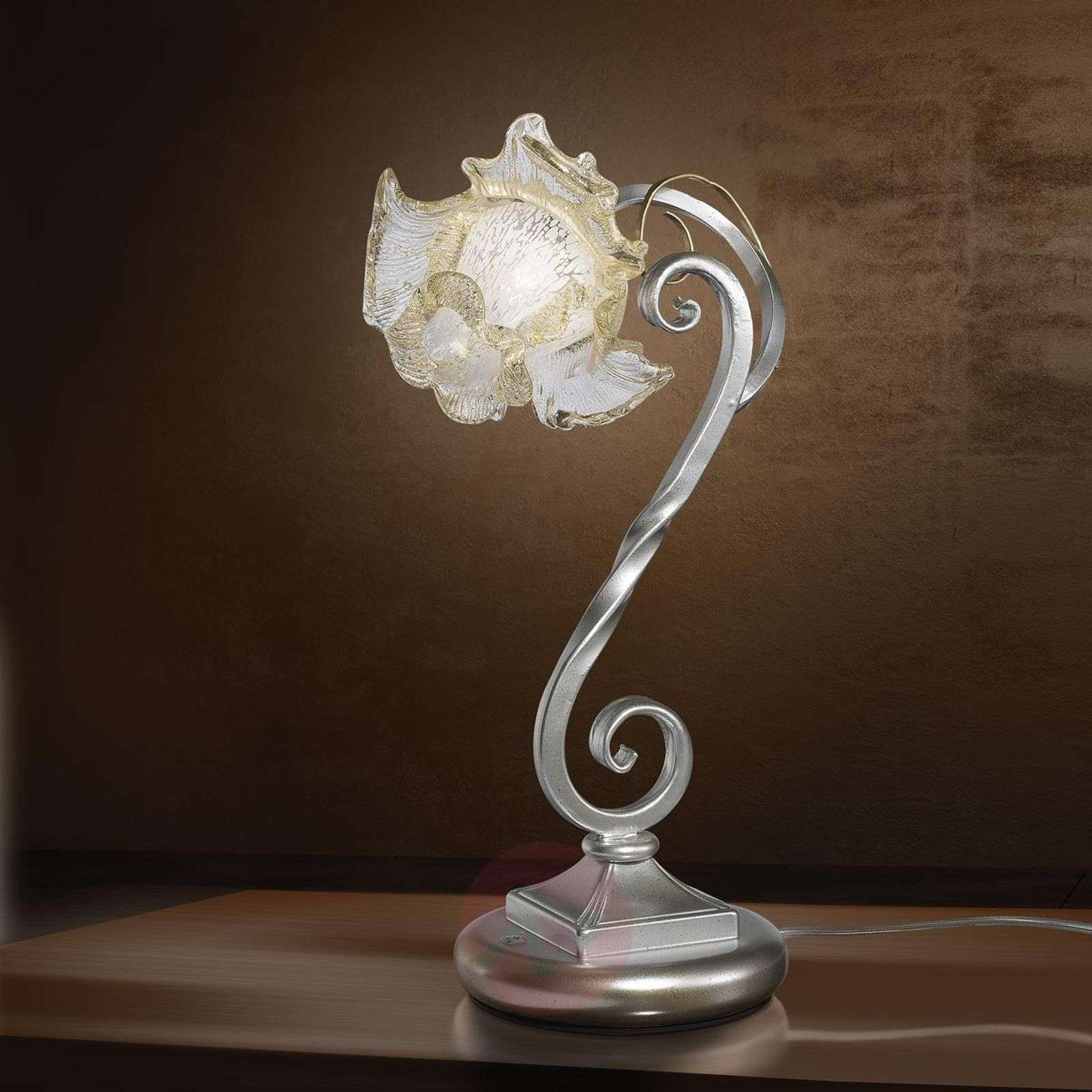 Wrought iron table lamp Rose with Murano glass-1548070-01