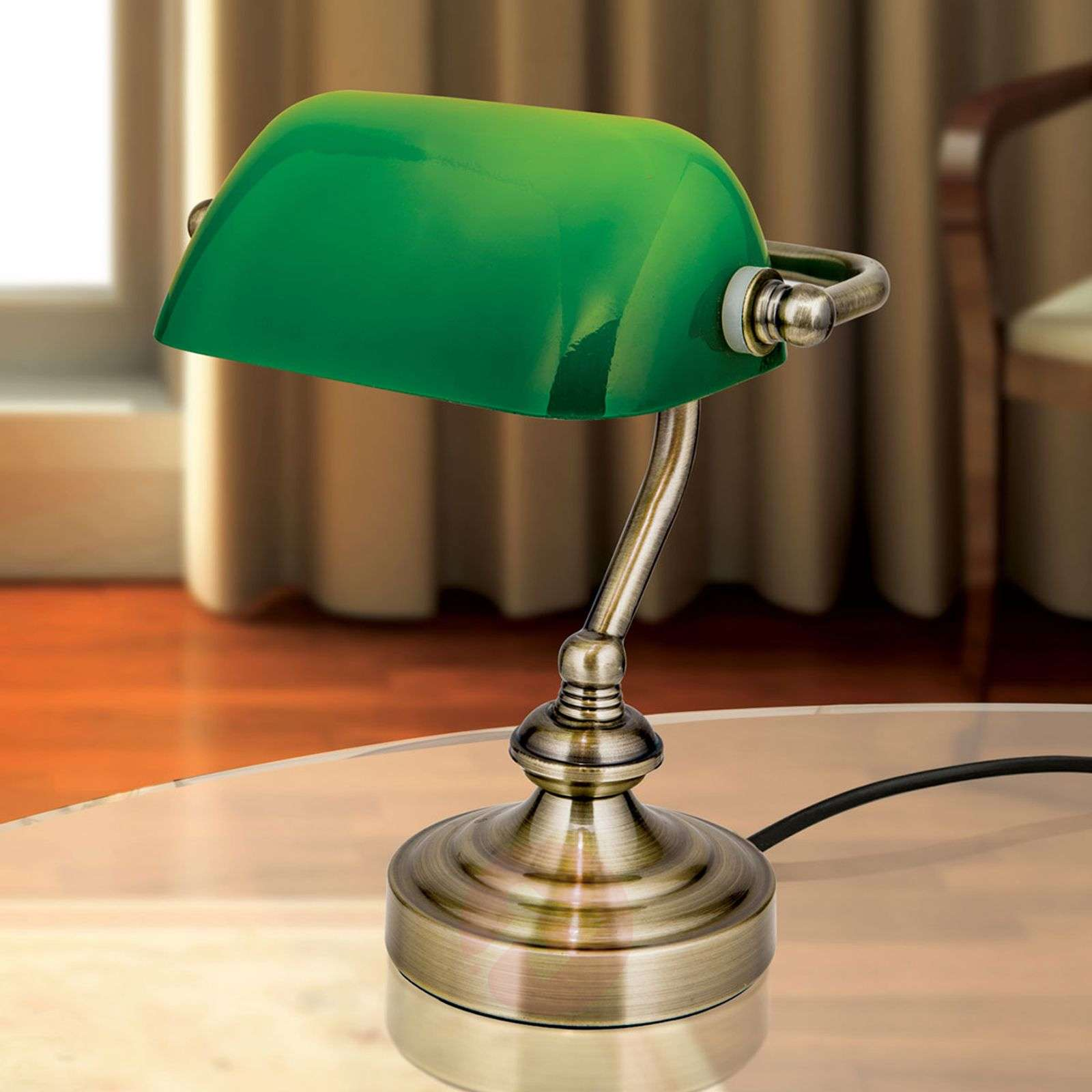 Zora banker's table lamp, green glass lampshade-7255360-01