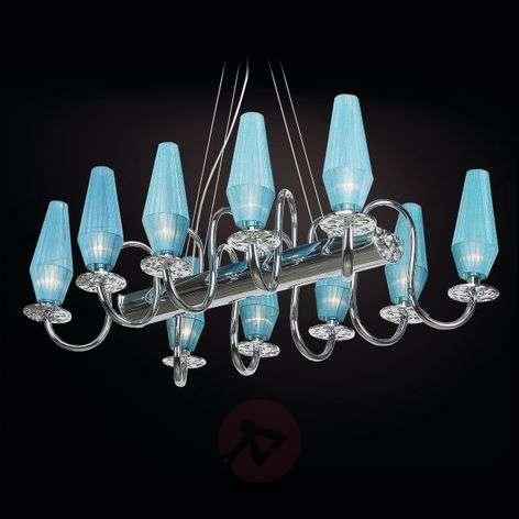 10-bulb chandelier Karma in turquoise