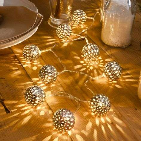 10-bulb silver metal ball LED string lights