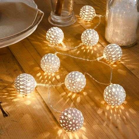 10-bulb white metal ball LED string lights