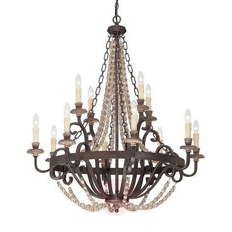 12-light chandelier Mallory in country house style