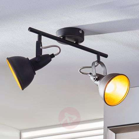 2-bulb ceiling light Julin, black and gold