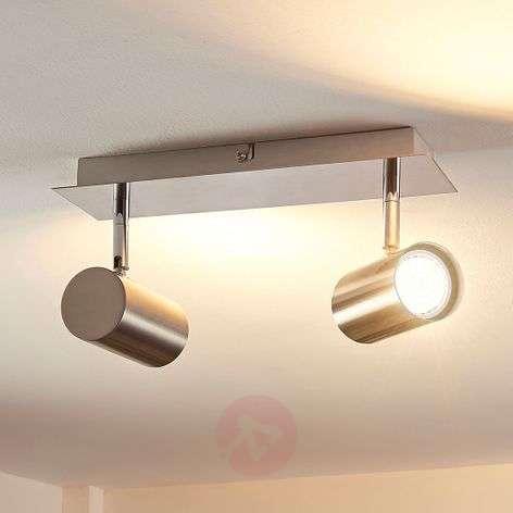 2-bulb LED spotlight Iluk, satin nickel