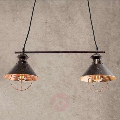 2-bulb Shanta hanging light in black copper