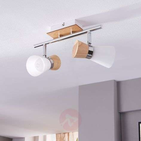 2-bulb wooden ceiling lamp Vivica with glass