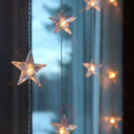 200 cm high LED curtain light Star, 50-bulb